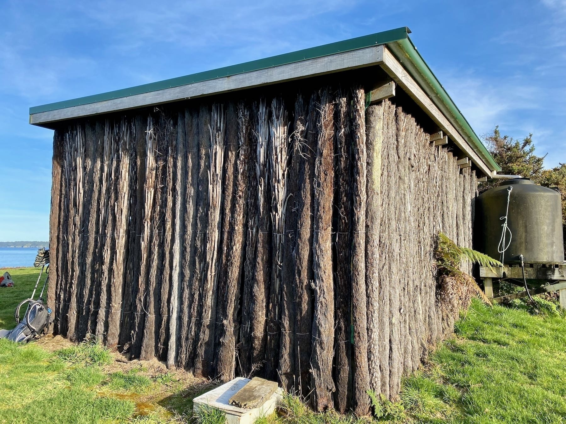 Rear view of the hut made from punga logs.