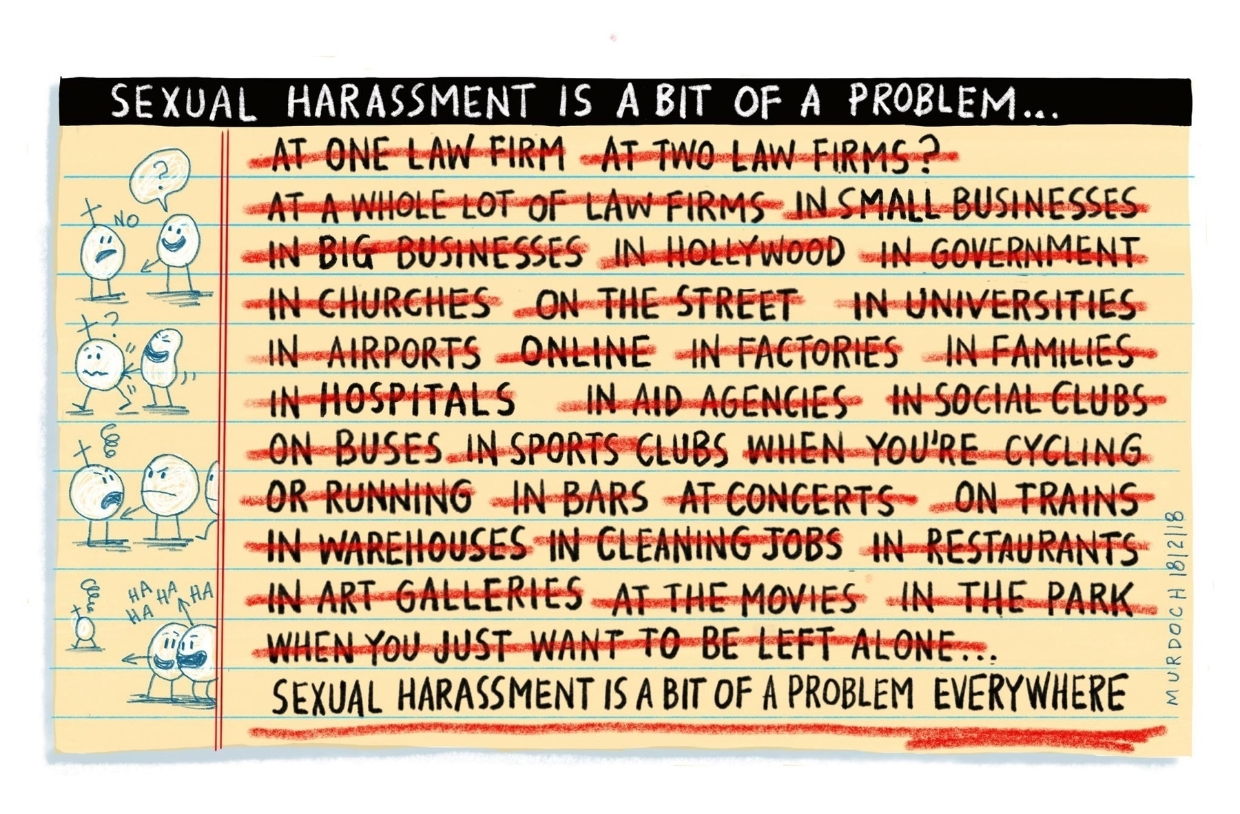 Long list of places where sexual harassment is a problem, all crossed out and replaced with 'everywhere'.