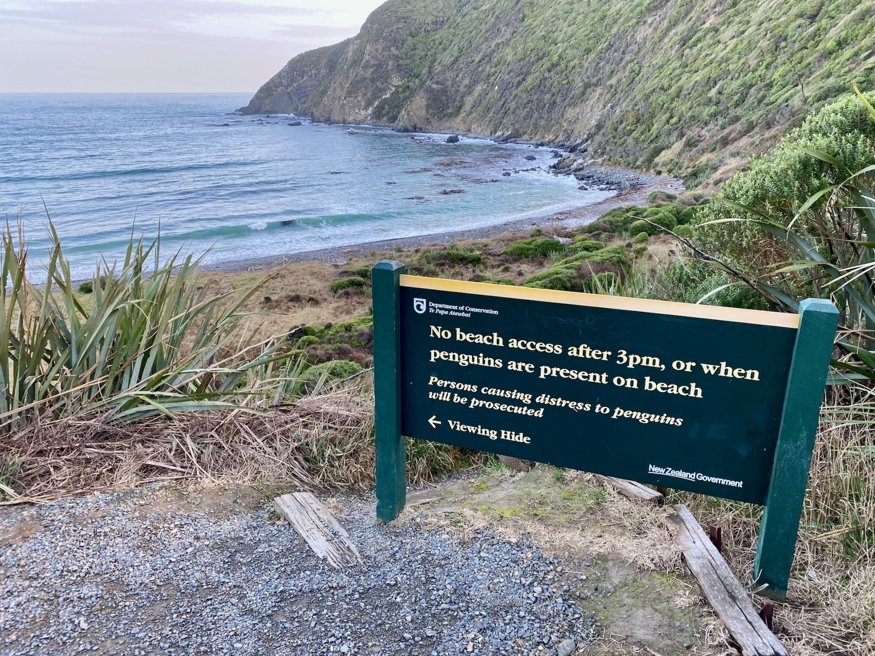 Roaring Bay view and info board.