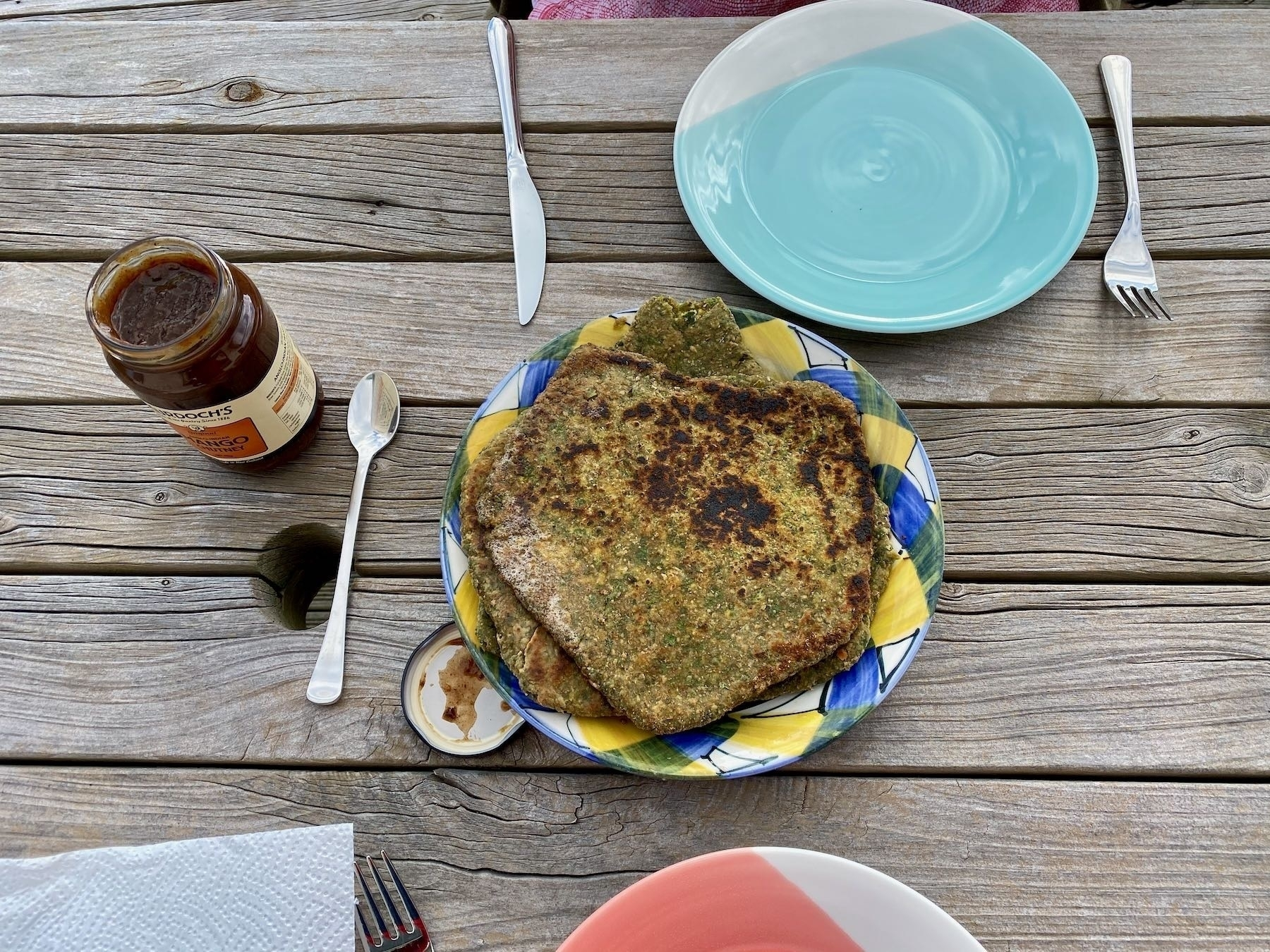 Paratha served and waiting to be eaten.