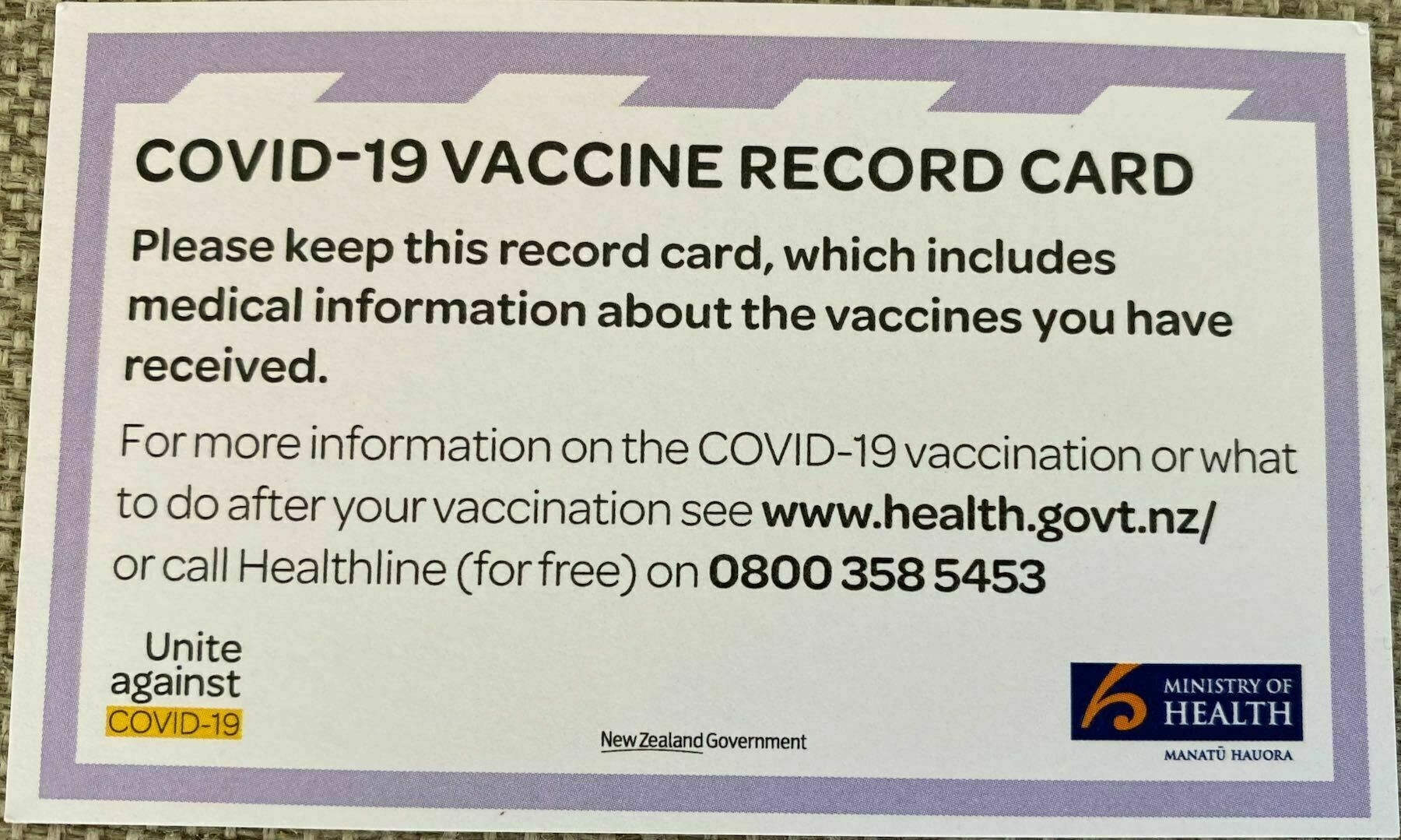 Vaccination record card front.