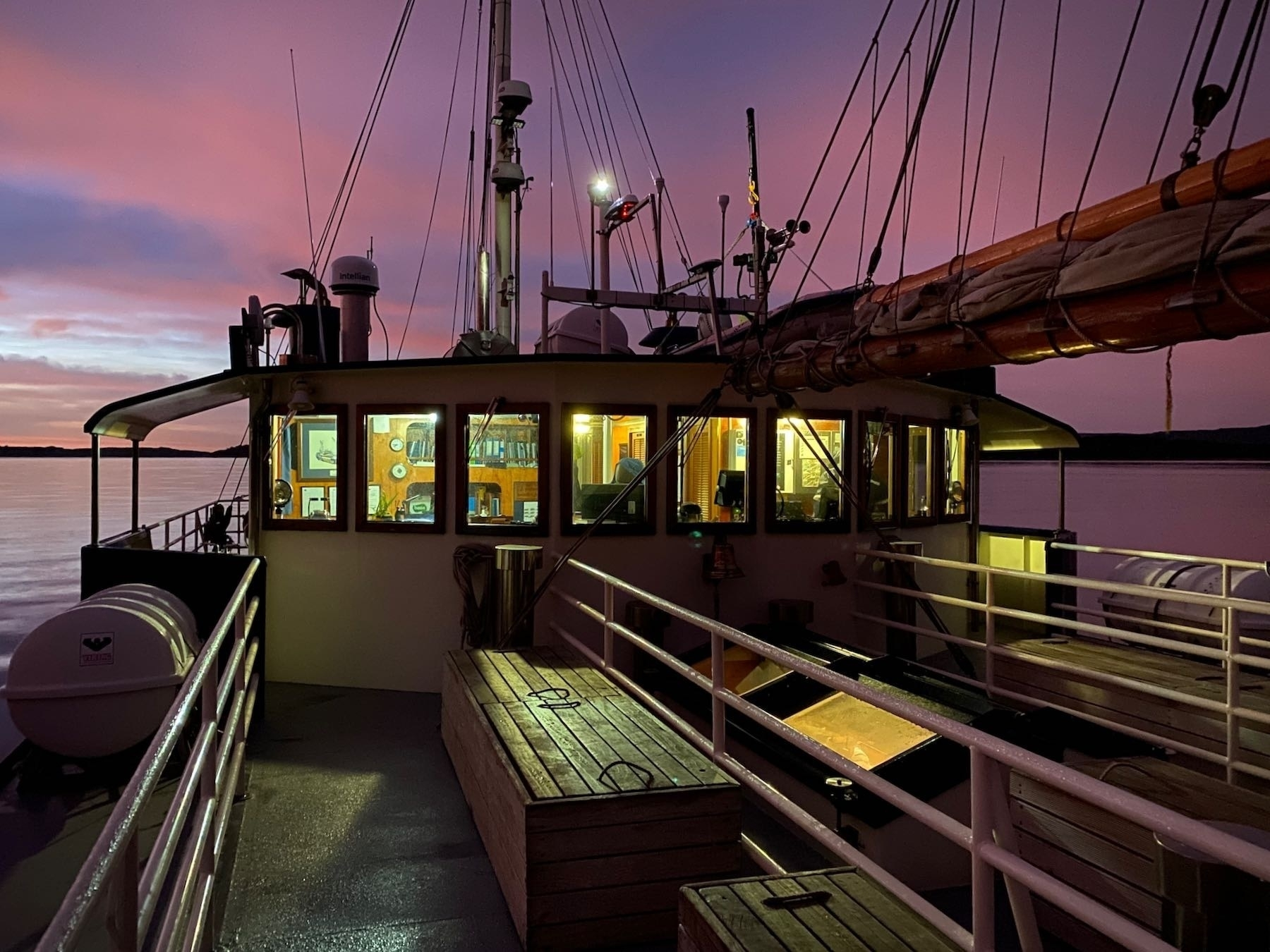 The wheelhouse from the deck of the Milford Wanderer.
