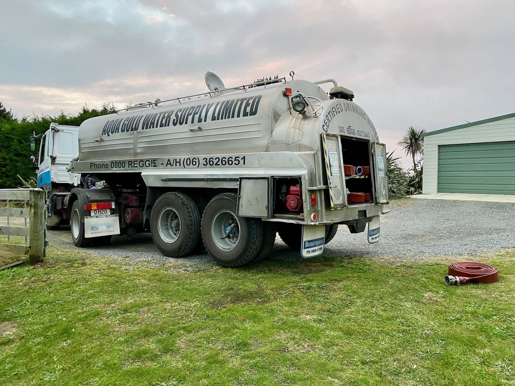 Water tanker at the gate.