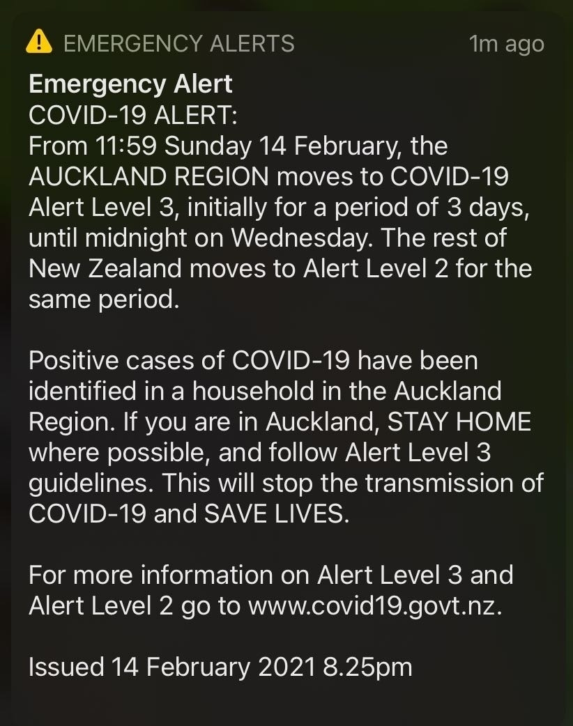 Alert Level change emergency alert.