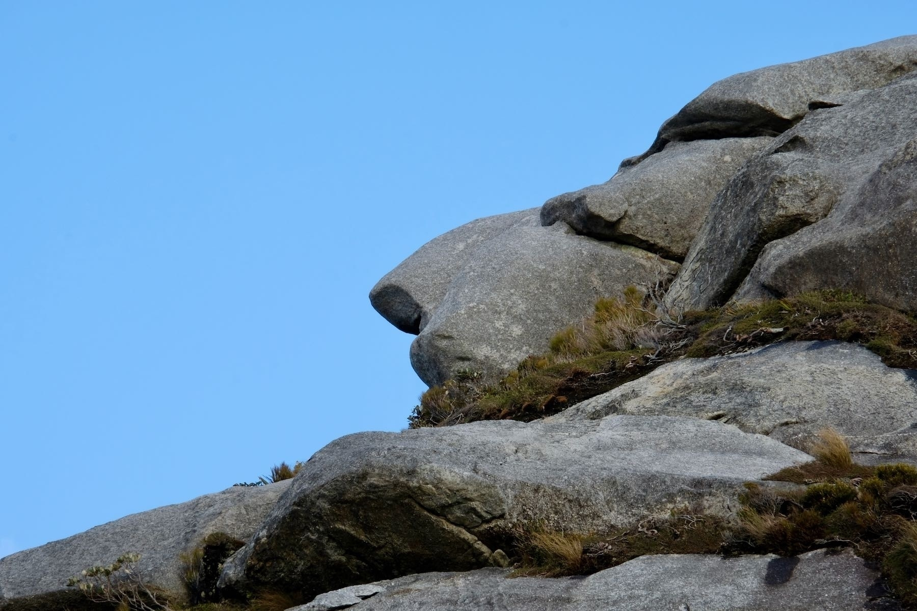 Rock outcrop that resembles a face in profile.