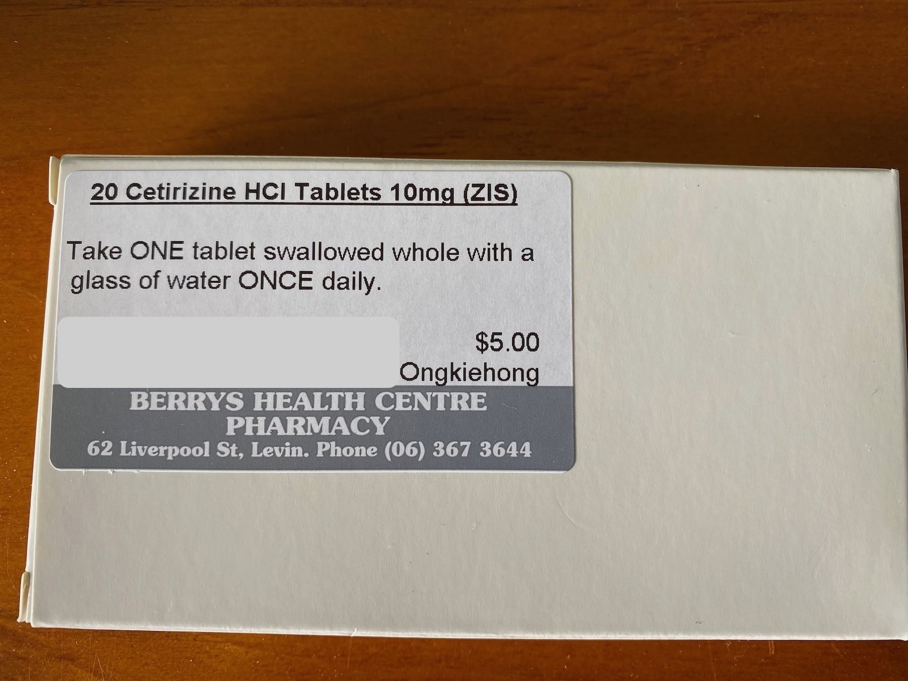 Pill packet for Cetirizine.